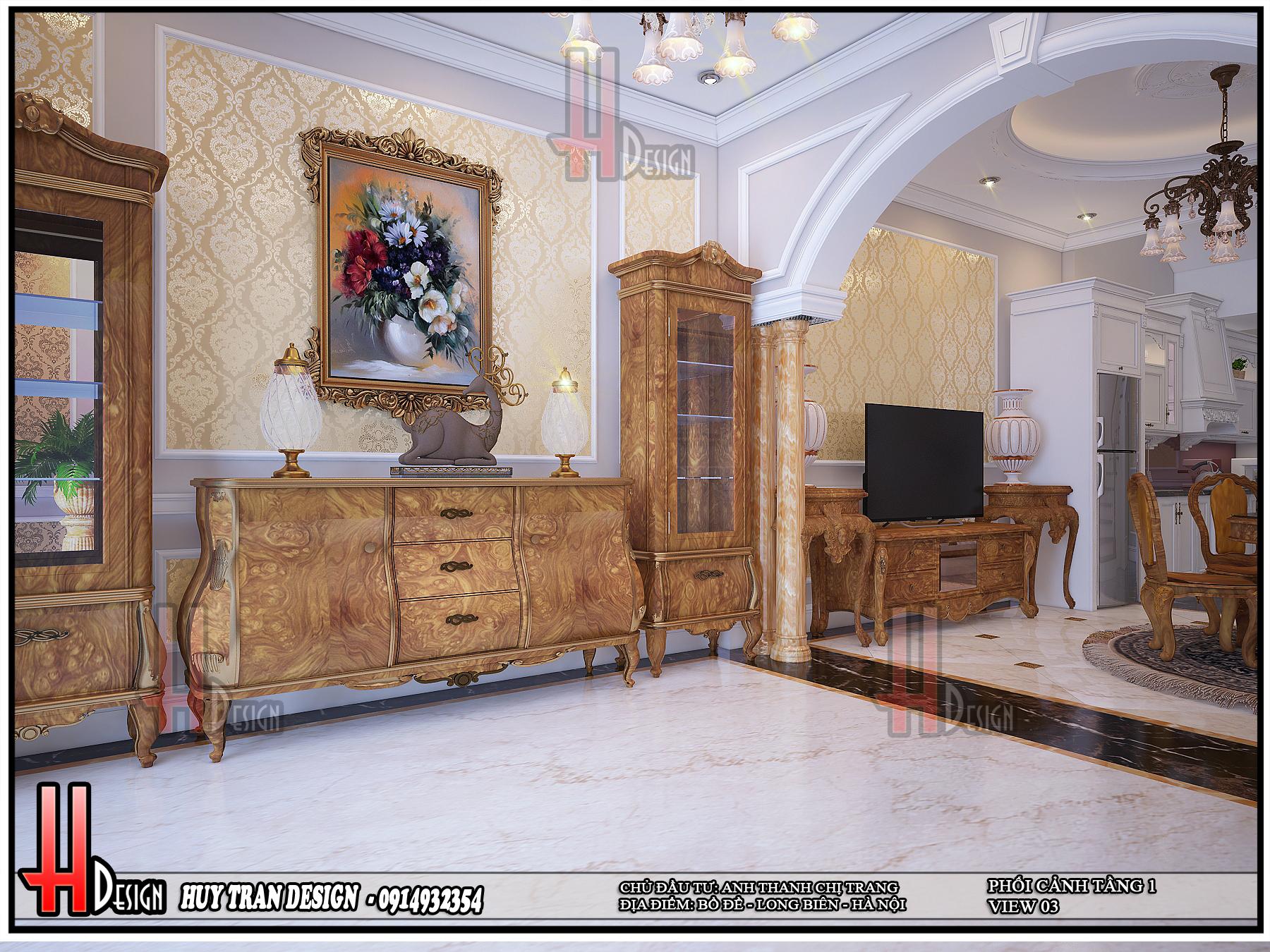 Mẫu thiết kế nội thất từ gỗ phong thuỷ nhà ở anh Thanh- chị Trang