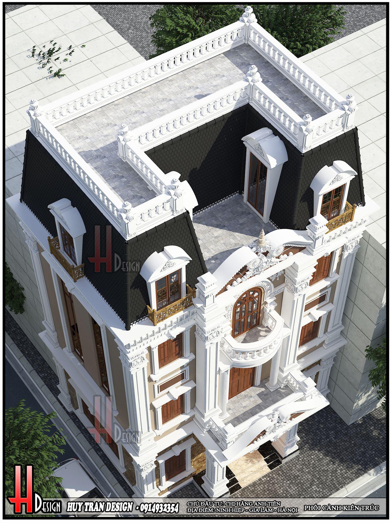 Mẫu thiết kế kiến trúc biệt thự 3 tầng kiểu Pháp tại Ninh Hiệp - Gia Lâm - Hà Nội