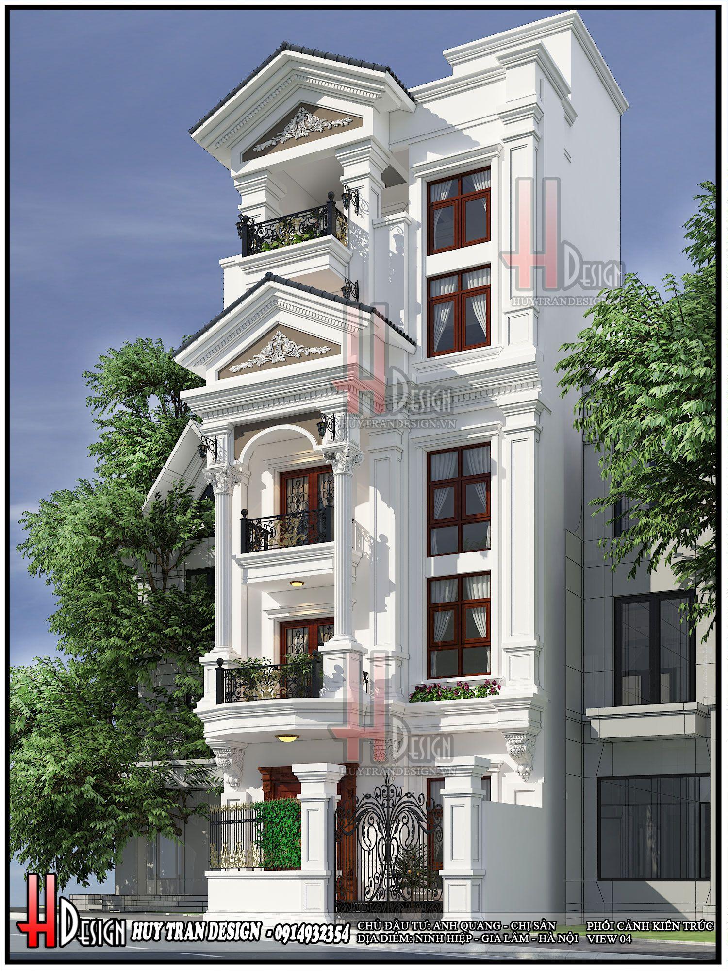 Mẫu thiết kế nhà phố tân cổ điển - Chị Sản Anh Quang