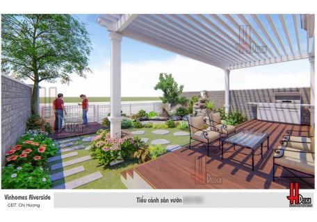 Mẫu thiết kế sân vườn hồ cá Koi kết hợp hòn non bộ biệt thự Vinhomes Riverside