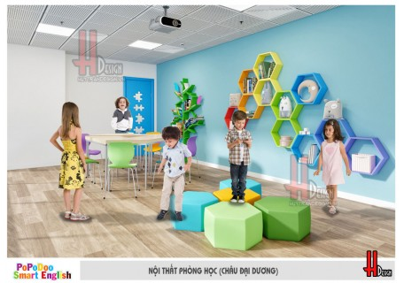 Mẫu thiết kế nội thất trung tâm tiếng anh trẻ em đẹp tại Hà Nội