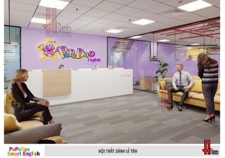Mẫu thiết kế nội thất văn phòng, phòng học trung tâm tiếng Anh Popodoo
