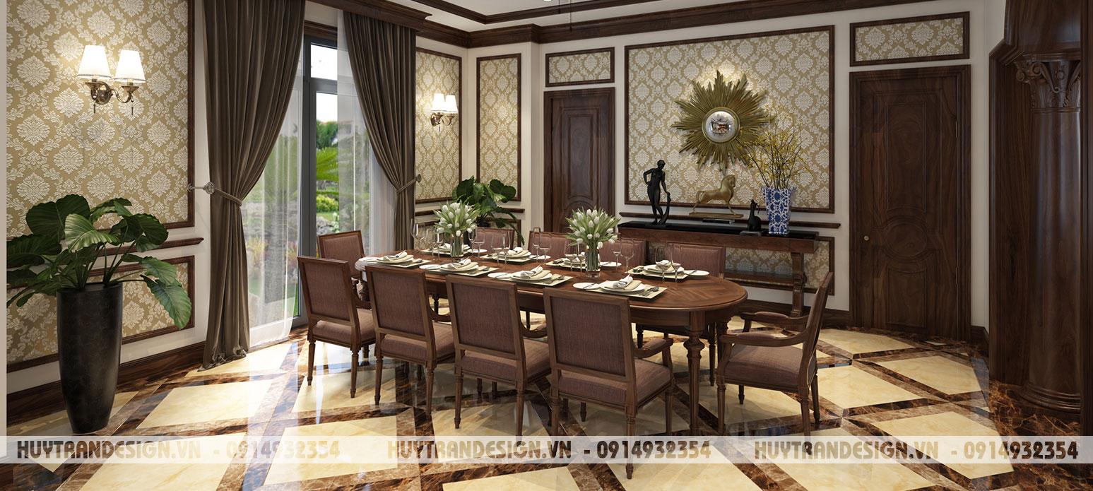 Mẫu thiết kế nội thất biệt thự Anh Đào, Vinhomes Riverside – phong cách tân cổ điển yêu gỗ.