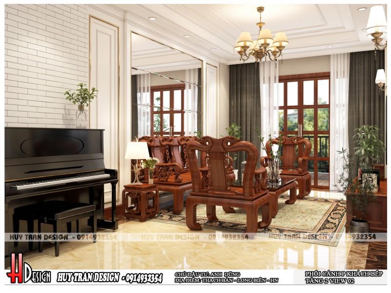 Mẫu thiết kế nội thất tân cổ điển từ gỗ tại Thạch Bàn - Anh Dũng