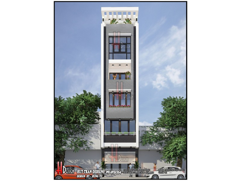 Mẫu thiết kế nhà phố 5 tầng - A Đông Đội Cấn - Ba Đình