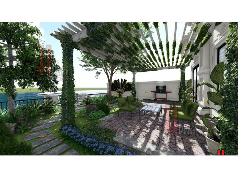 Mẫu thiết kế cảnh quan sân vườn biệt thự Hoa Sữa – Vinhomes Riverside