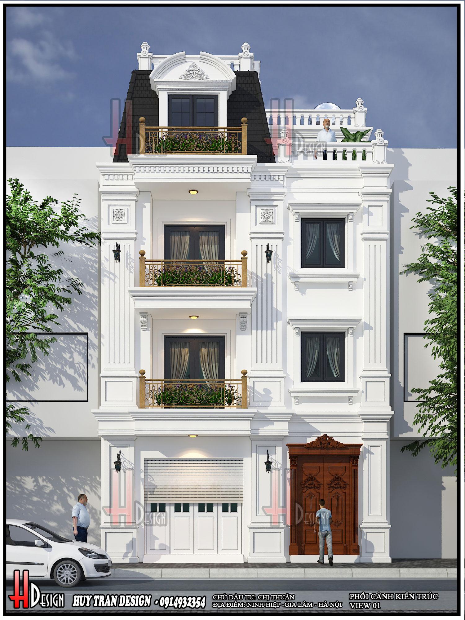 Mẫu thiết kế biệt thự 3.5 tầng phong cách Châu Âu nhà chị Thuận - thiết kế biệt thự tại Ninh Hiệp