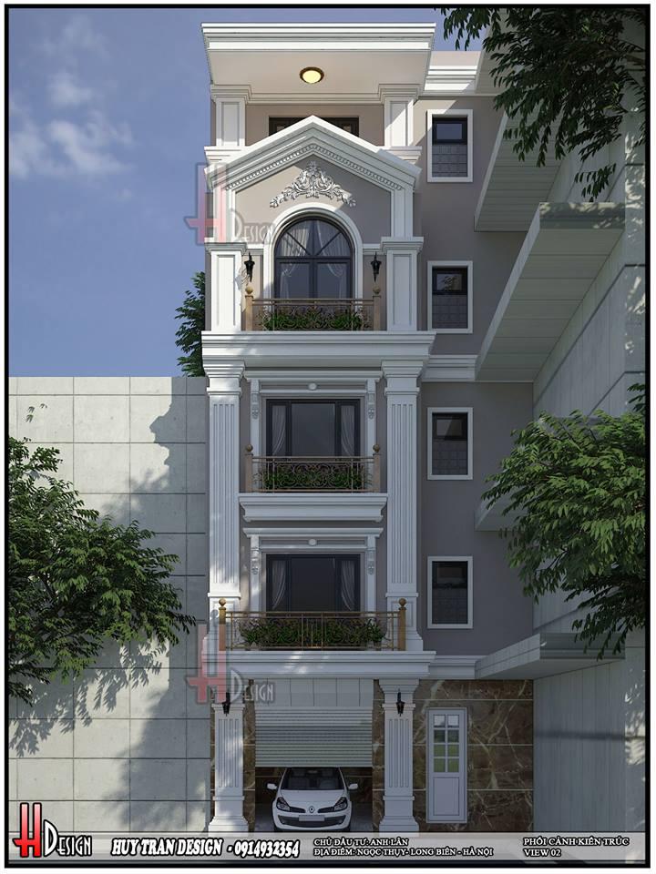 Mẫu thiết kế nhà phố 5 tầng tại Long Biên - Anh Lân