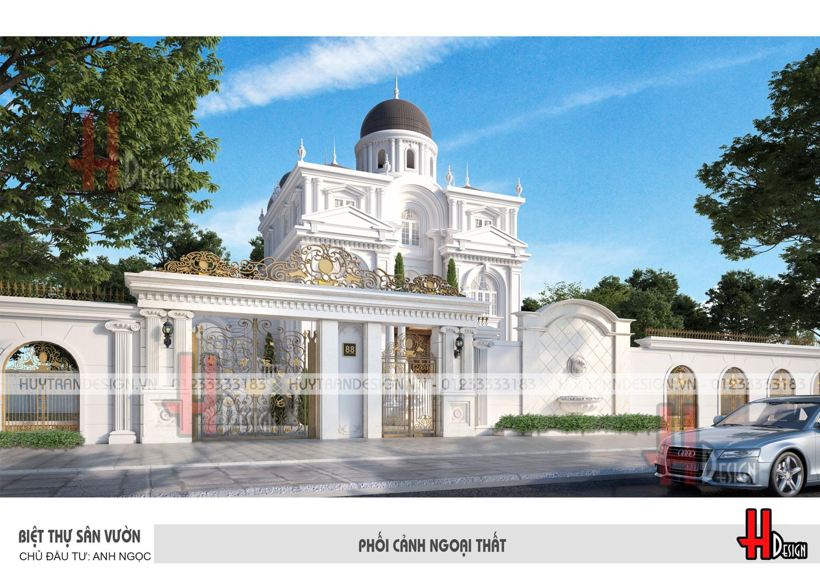 Mẫu thiết kế kiến trúc lâu đài tân cổ điển tại Đông Anh - Chủ đầu tư anh Ngọc