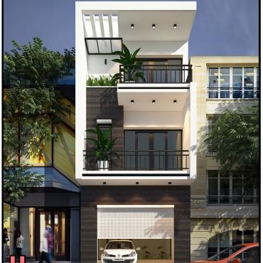 Mẫu thiết kế nhà phố 3 tầng chị Hương