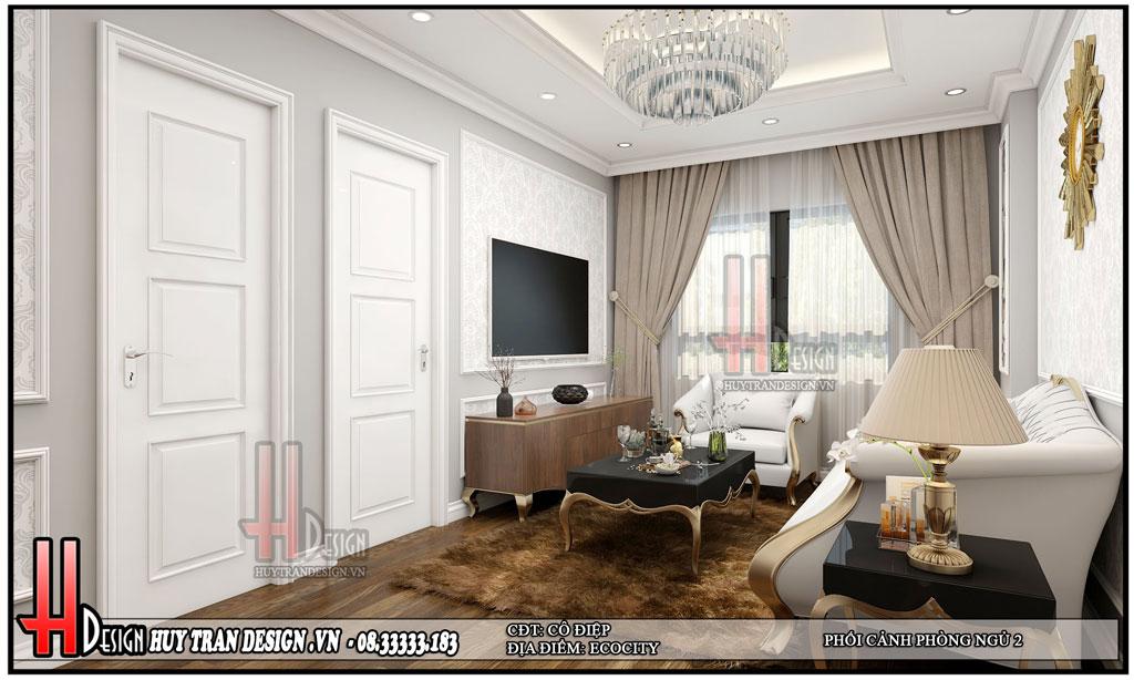 Mẫu thiết kế nội thất chung cư 80m2 tại Hà Nội - tân cổ điển độc đáo