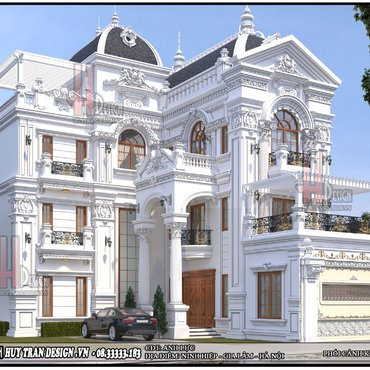 Thiết kế biệt thự: Mẫu nhà kiểu Pháp tân cổ điển đẹp tại Hà Nội